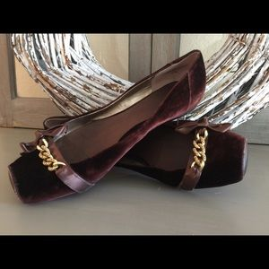 Burgundy or Maroon velvet flats with gold detail